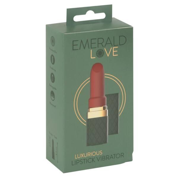 Emerald Love - akkus, vízálló rúzsvibrátor (zöld-bordó)