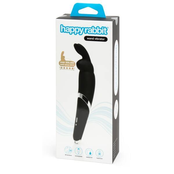 Happyrabbit Wand - akkus, masszírozó vibrátor (fekete)