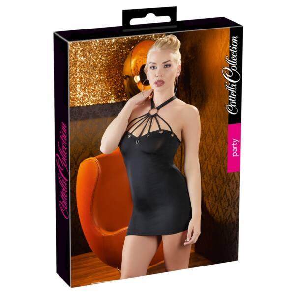 Cottelli Party - fém gyűrűs nyakpántos ruha (fekete)