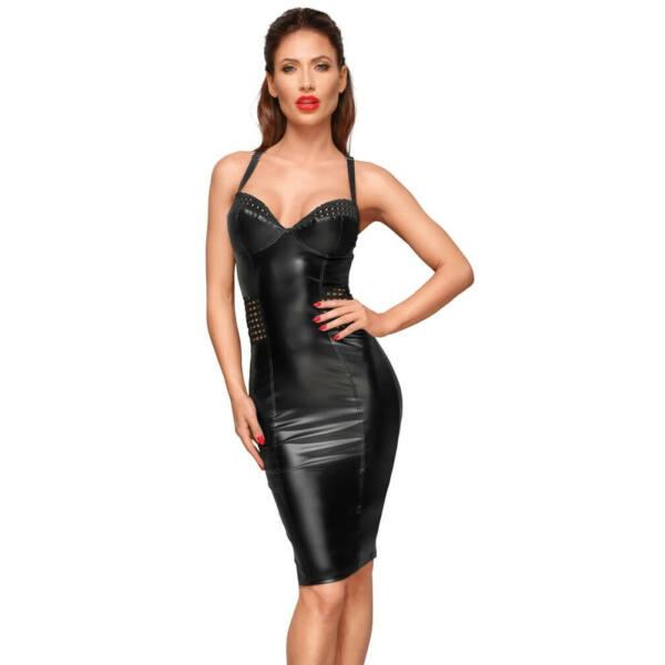 Noir - hálós betétes, fényes ruha (fekete)