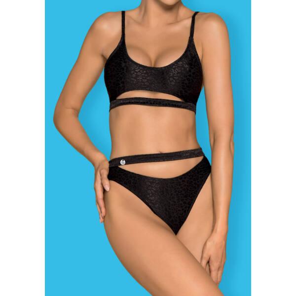 Obsessive Miamelle - leopárdmintás sportos bikini (fekete)