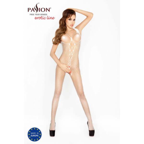 Passion BS014 - elöl hálós-fűzős, nyitott necc overall (fehér) - S-L
