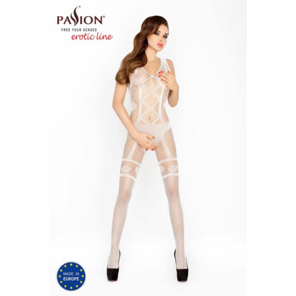 Passion BS018 - body hatású, nyitott necc overall (fehér) - S-L