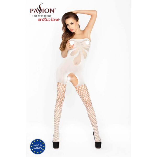 Passion BS021 - szíves, ujjatlan, nyitott necc overall (fehér) - S-L