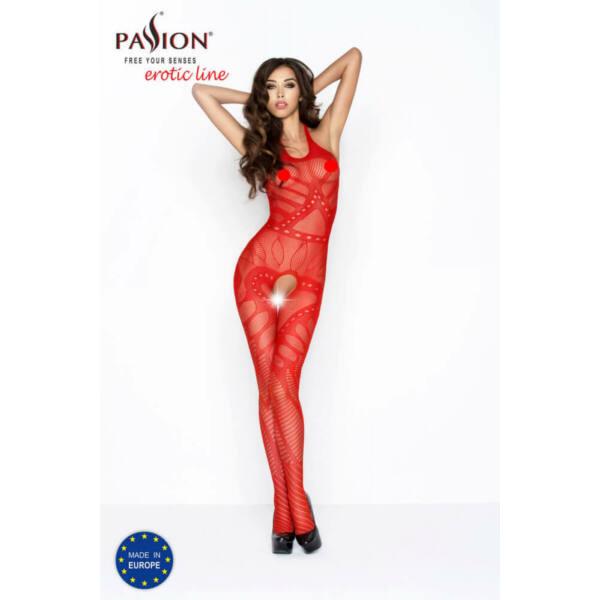 Passion BS037 - nyitott necc overall, változatos mintákkal (piros) - S-L