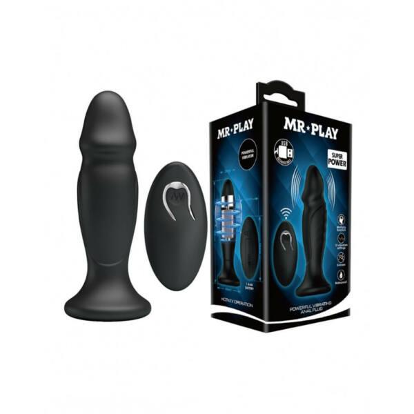 MR. PLAY - akkus, rádiós anál vibrátor (fekete)