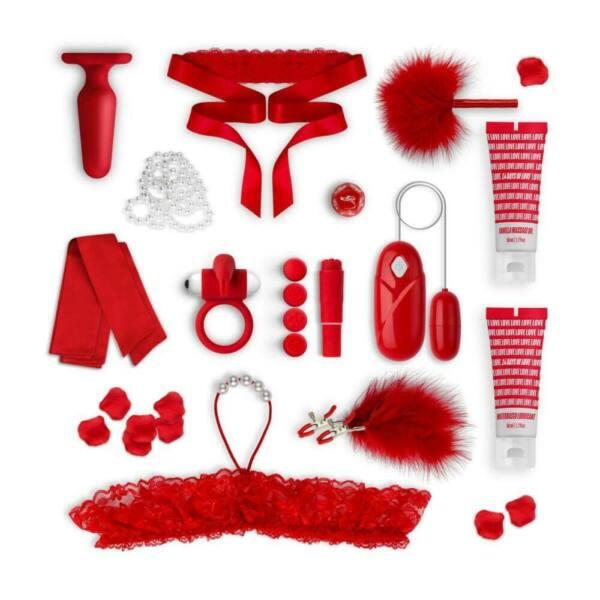 LoveBoxxx 14-Days of Love - buja vibrátoros szett pároknak (piros)
